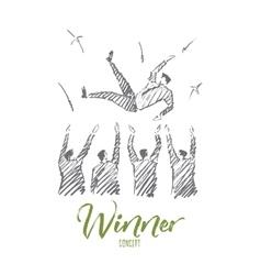 Hand drawn businessmen throwing up winner on hands vector image