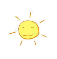 Hand drawn cartoon cute shinny sun vector