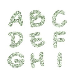hand-drawn heart alphabet set vector image