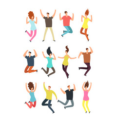 Happy jumping people excited man and woman vector