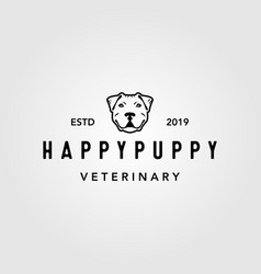 happy puppy dog pet vintage logo design vector image