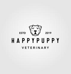 happy puppy dog pet vintage logo design vector image