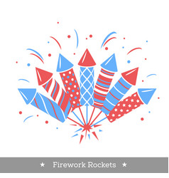 Holiday firework set of rockets or firecrackers vector