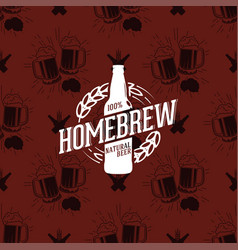 homebrew logo on seamless pattern clinking vector image