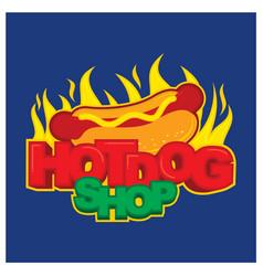Hot dog shop logo design template vector