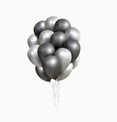 isolated sheaf of silver and black balloons vector image