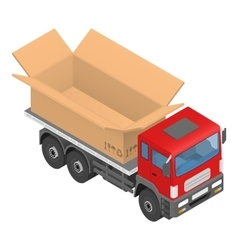 Isometric red cargo truck with cardboard box vector