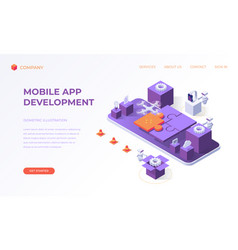 landing page for mobile app development vector image