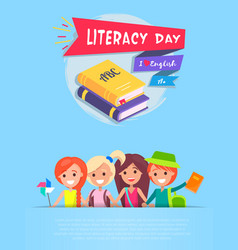 Literacy day light-blue vector