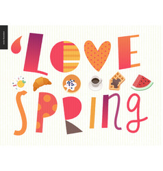 Love spring breakfast lettering composition vector