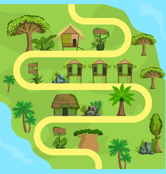 map tropical island with bungalows top view vector image