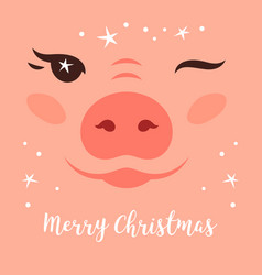merry christmas card funny cute vector image