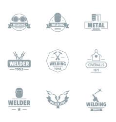Metallically facility logo set simple style vector