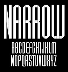Modern alphabet folded paper tape font narrow vector