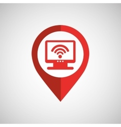 Monitor wireless concept wifi pin icon vector