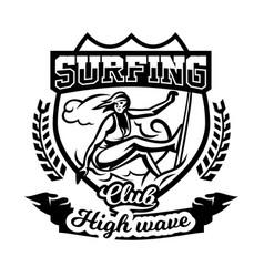 monochrome logo emblem girl surfer surfing vector image