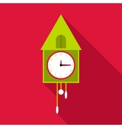 Old wall clock icon flat style vector