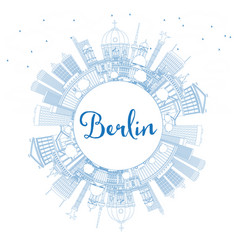 Outline berlin germany city skyline with blue vector