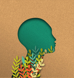 Papercut woman head with colorful paper leaves vector