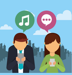people using smartphone device with speech bubbles vector image