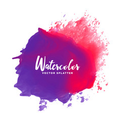 purple red watercolor splash stain background vector image