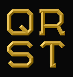 q r s t gold faceted letters trendy and vector image