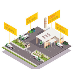 Recycling center isometric composition vector