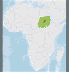 Republic sudan location on africa map vector