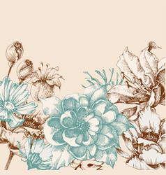 Retro floral background roses and lily greeting vector