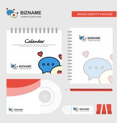 romantic chat logo calendar template cd cover vector image