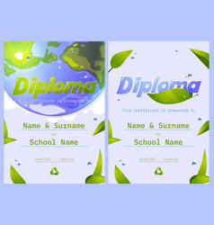 school diploma save planet certificate frame vector image