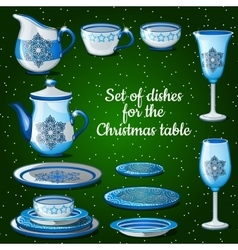 set dishes for lush festive table 11 icons vector image