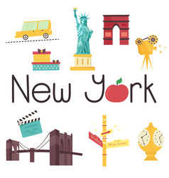 set famous new york attractions and symbols vector image