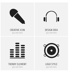Set of 4 editable mp3 icons includes symbols such vector