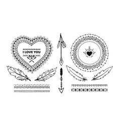 Set of ethnic decorative handmade elements vector