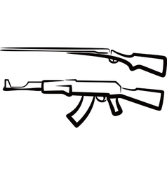 set of guns vector image