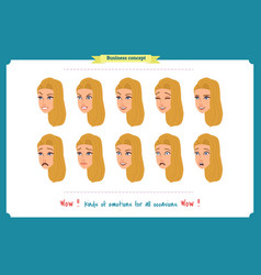 set of woman expression isolatedbusinesswoman vector image