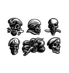 set skull emblems vector image