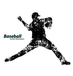 silhouette of a baseball player vector image