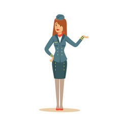 Stewardess in blue uniform doing a welcome gesture vector
