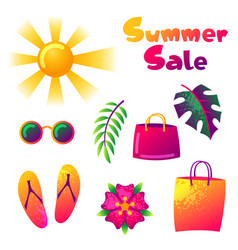 Summer sale colorful elements sun palm leaves vector