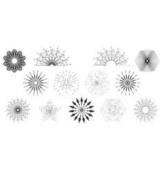 Sun burst set hand drawn style isolated on white vector