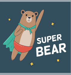 Super bear flying for t-shirt and print design vector