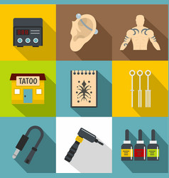 Tattoo icons set flat style vector