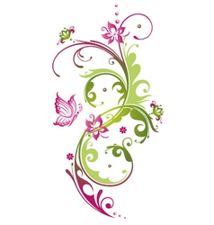 tendril floral elements vector image