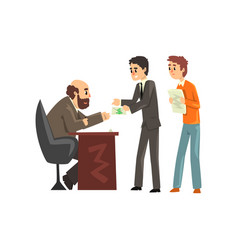 Two men giving money to get permission official vector
