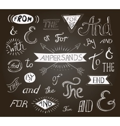 Vintage hand lettered ampersands and catchwords vector
