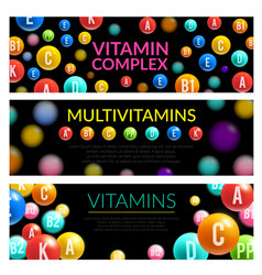 Vitamin complex of dietary supplement 3d banner vector