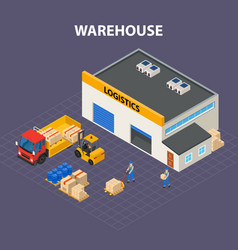 Warehouse outside isometric design concept vector