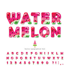 watermelon summer bright font cartoon decorative vector image